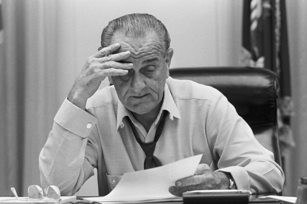 President Johnson Working In White House